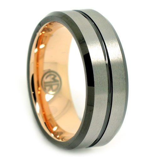 Brushed Black And Gold Signature Tungsten Mens Ring