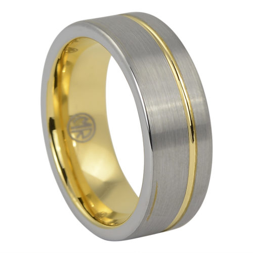 Brushed Gold Signature Tungsten Mens Ring