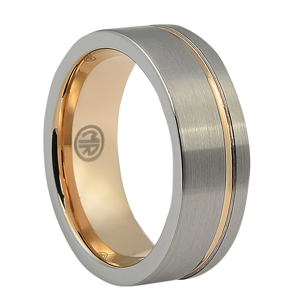 """This is an image of Brushed Rose Gold """"Signature"""" Tungsten Mens Ring"""