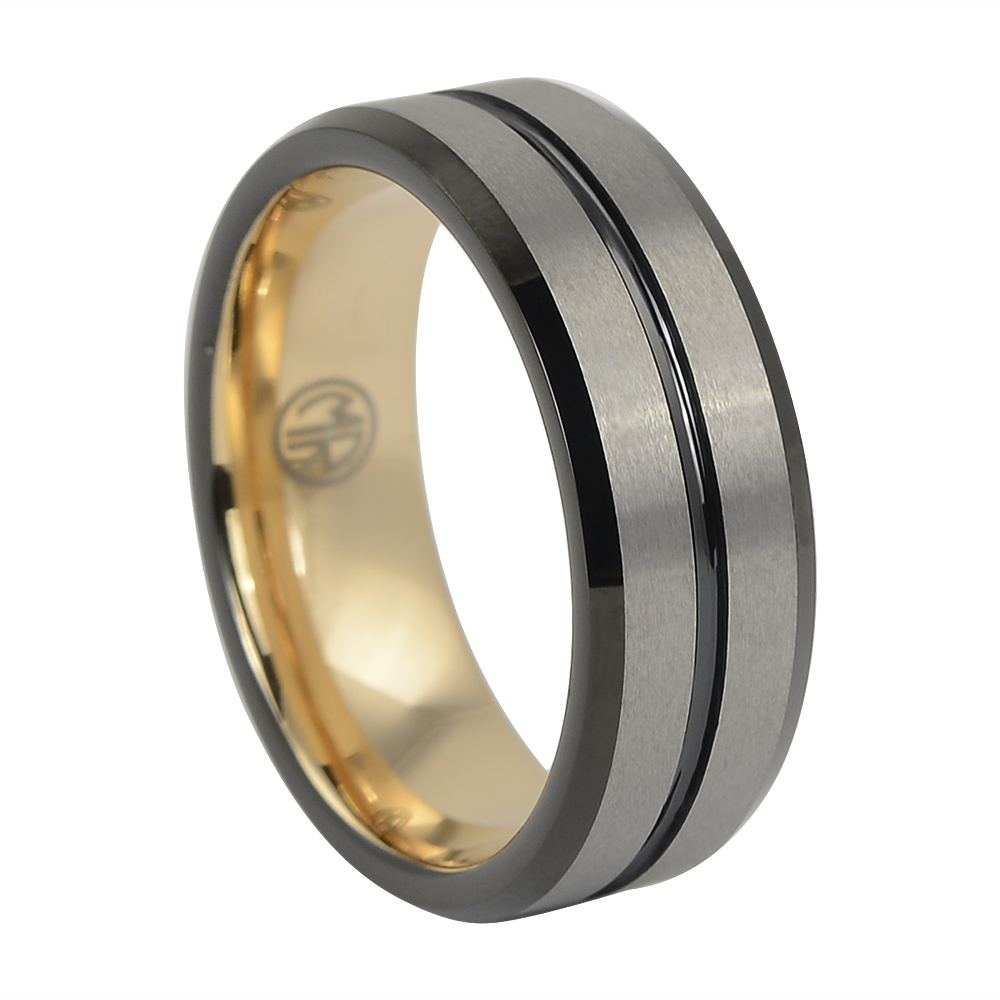 """Brushed Black And Gold """"Signature"""" Tungsten Mens Ring"""