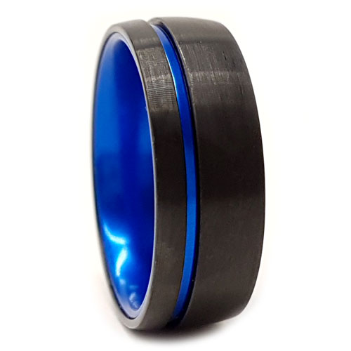 Mens Blue Tungsten Ring