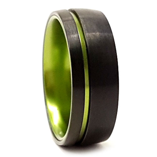 Mens Green Tungsten Ring