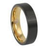 Brushed Mens Black Gold Ring