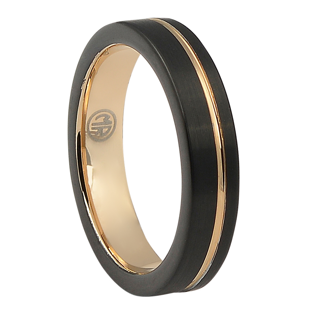 "FTRS-106-5-Black Rose Gold Thin ""Signature"" Tungsten Mens Ring"