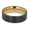 Brushed Mens Flat Black Gold Ring