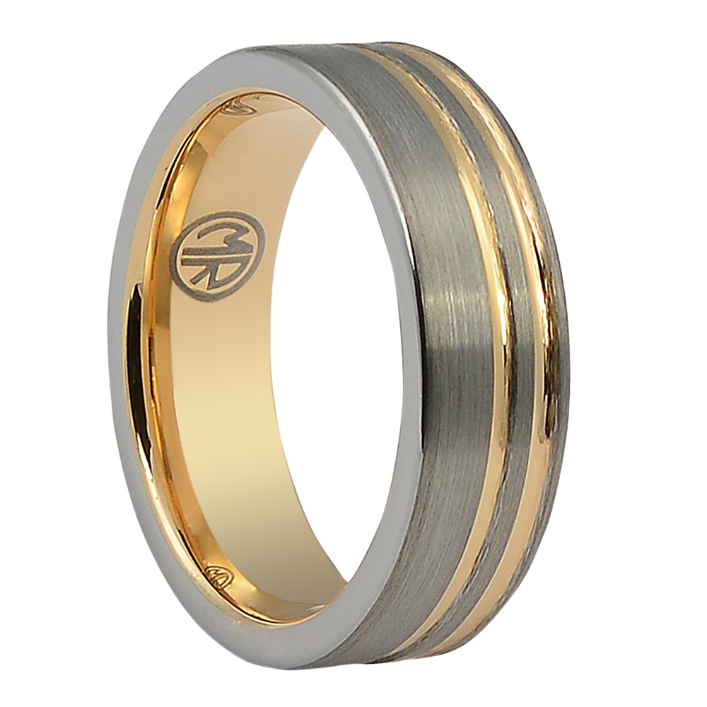 """FTR-113-7-Brushed Tungsten Double Ridge """"Ion+"""" Rose Gold Ring"""
