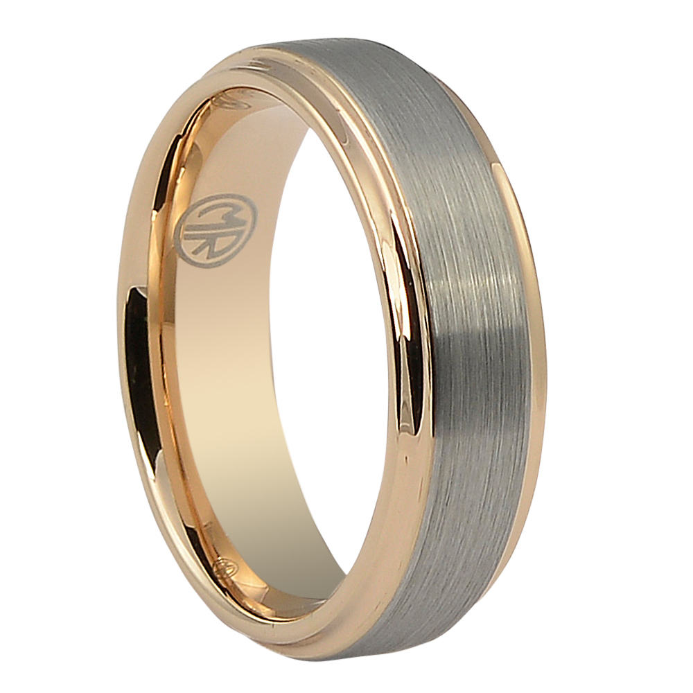 "FTR-114-7-Ridge Edge Mens Tungsten ""Ion+"" Rose Gold Ring"