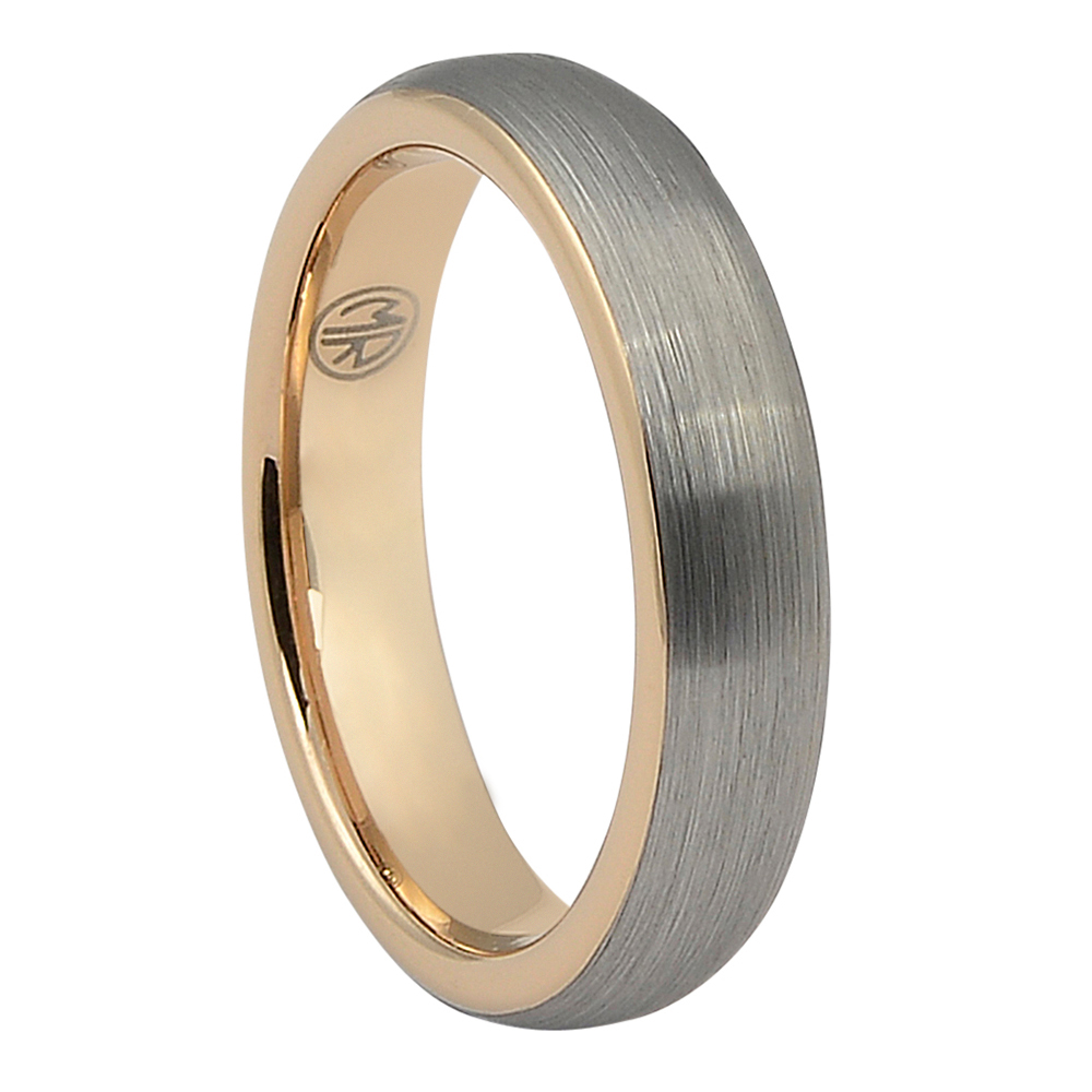 "FTR-116-5-Brushed Dome Tungsten ""Ion+"" Rose Gold Mens Ring"
