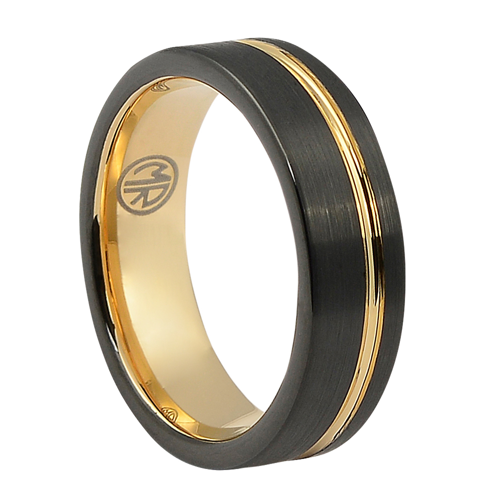 "FTRS-106-6-Brushed Black Rose Gold ""Signature"" Tungsten Mens Ring"