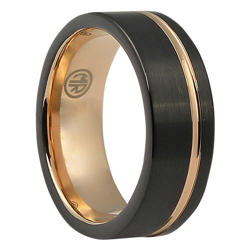 FTRS-106-7-Brushed Signature Tungsten Black Rose Gold Ridge Ring