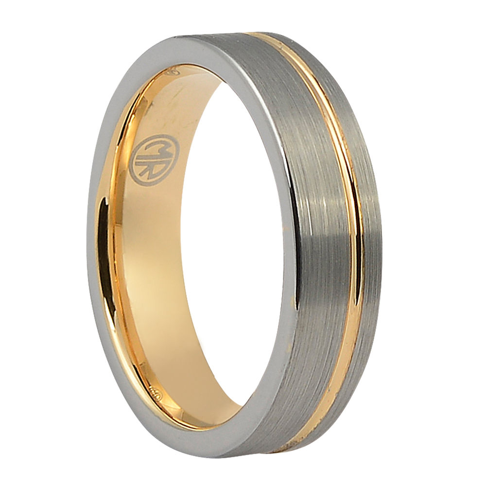 "FTRS-109-6-Brushed Silver Rose Gold ""Ion+"" Tungsten Mens Ring"