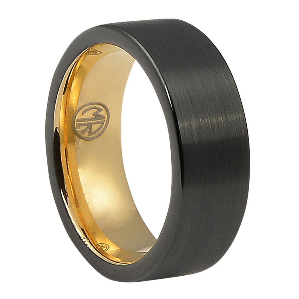"ITR-165-""Forever Black"" Titanium Mens Ring with Yellow Gold"