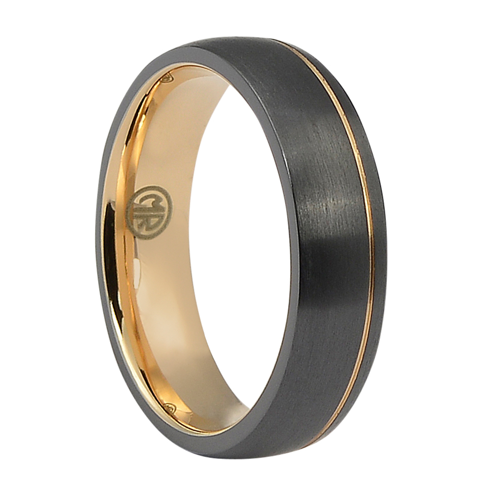 "ITR-166-""Forever Black"" & Rose Dome Titanium Mens Ring"
