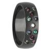Rainbow Diamond Black Zirconium Mens Ring