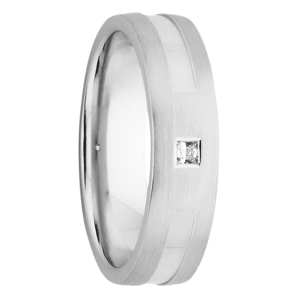 Sanded White Gold Princess Cut Diamond Mens Ring