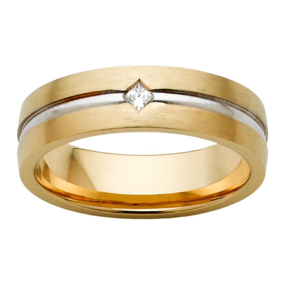 Brushed Yellow & White Gold Princess Cut Diamond Mens Ring