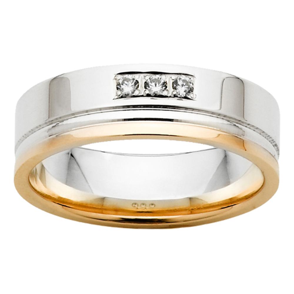 Triple Diamond White & Yellow Gold Mens Ring