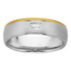 Brushed White & Yellow Gold Baguette Cut Diamond Mens Ring