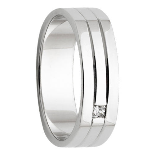 Double Groove White Gold Diamond Mens Ring