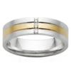 White & Yellow Gold Linear Triple Diamond Mens Ring