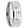 Plaid Pattern Triple Round Diamond White Gold Mens Ring