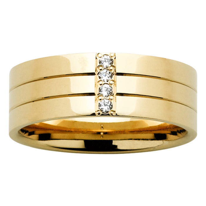 Diamond Grooved Yellow Gold Mens Ring