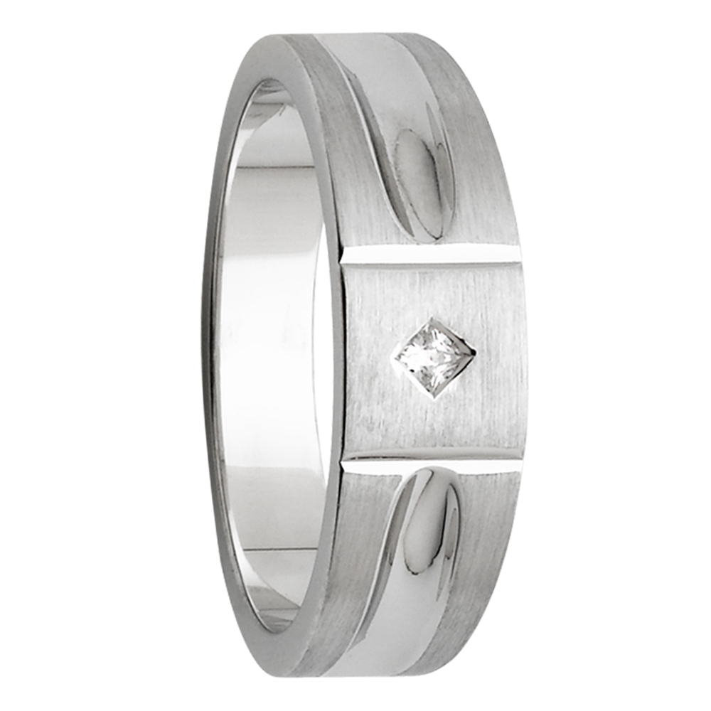 Vertical Grooves Angle Diamond White Gold Mens Ring