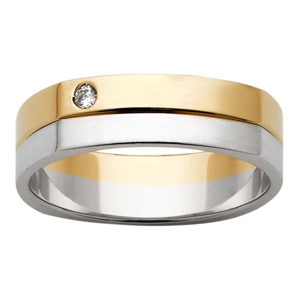Two-Tone White & Yellow Gold Diamond Mens Ring