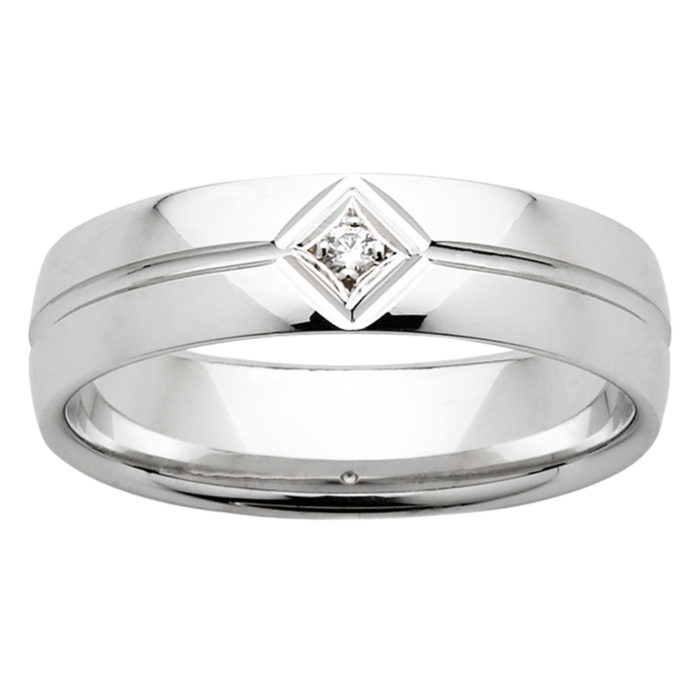 Central Groove Angle Diamond White Gold Mens Ring