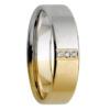 Half Tone White & Yellow Gold Diamond Mens Wedding Ring