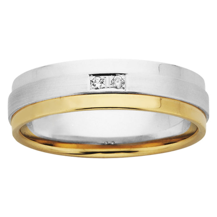Brushed Layer Double Diamond Mens Ring in White & Yellow Gold