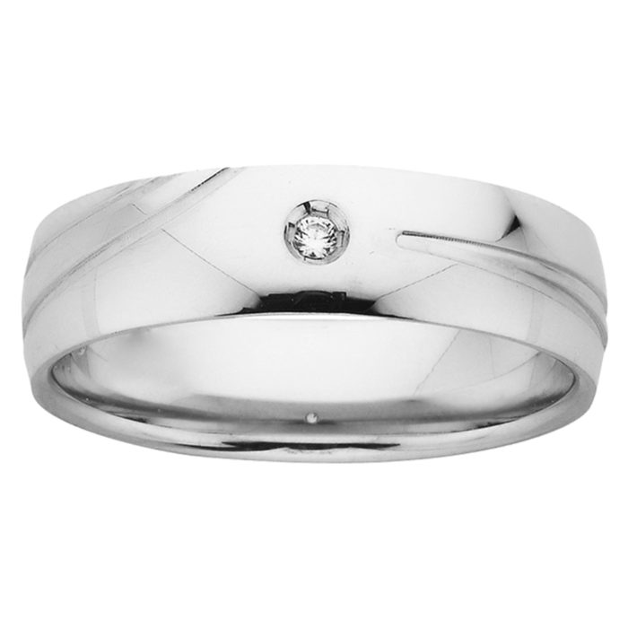 Polished Accent Groove Diamond Mens Ring in White Gold