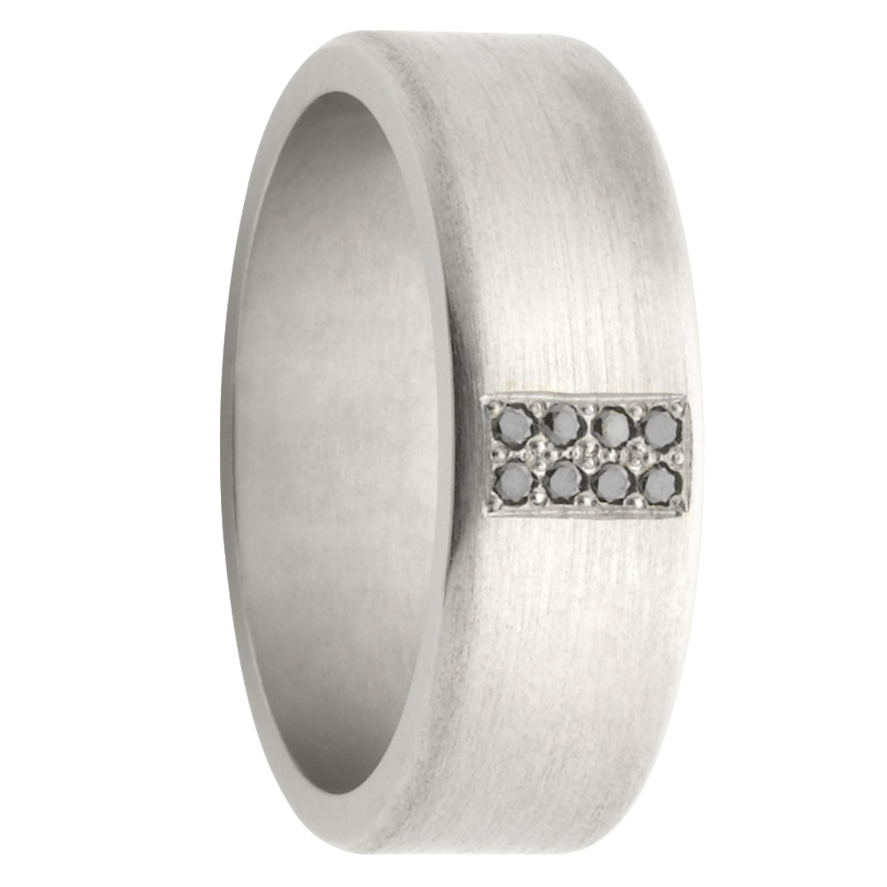 8 Diamond Matte Titanium Mens Ring