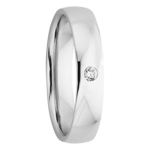 Polished Mens Diamond Wedding Band in White Gold