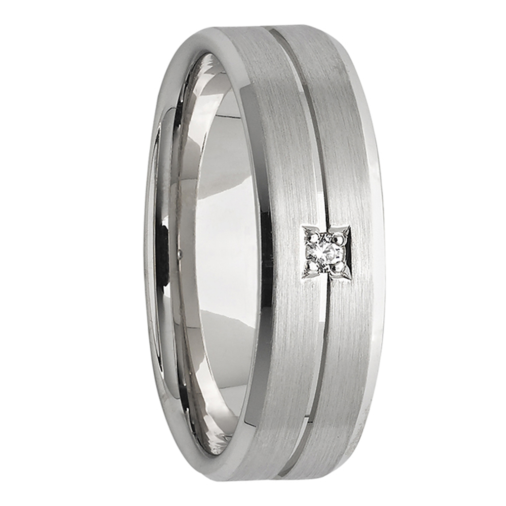 Diamond Satin White Gold Mens Wedding Band