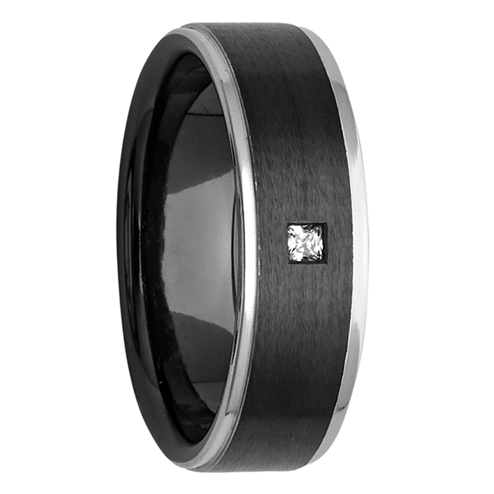 Princess Cut Diamond Black & Silver Tone Zirconium Mens Ring