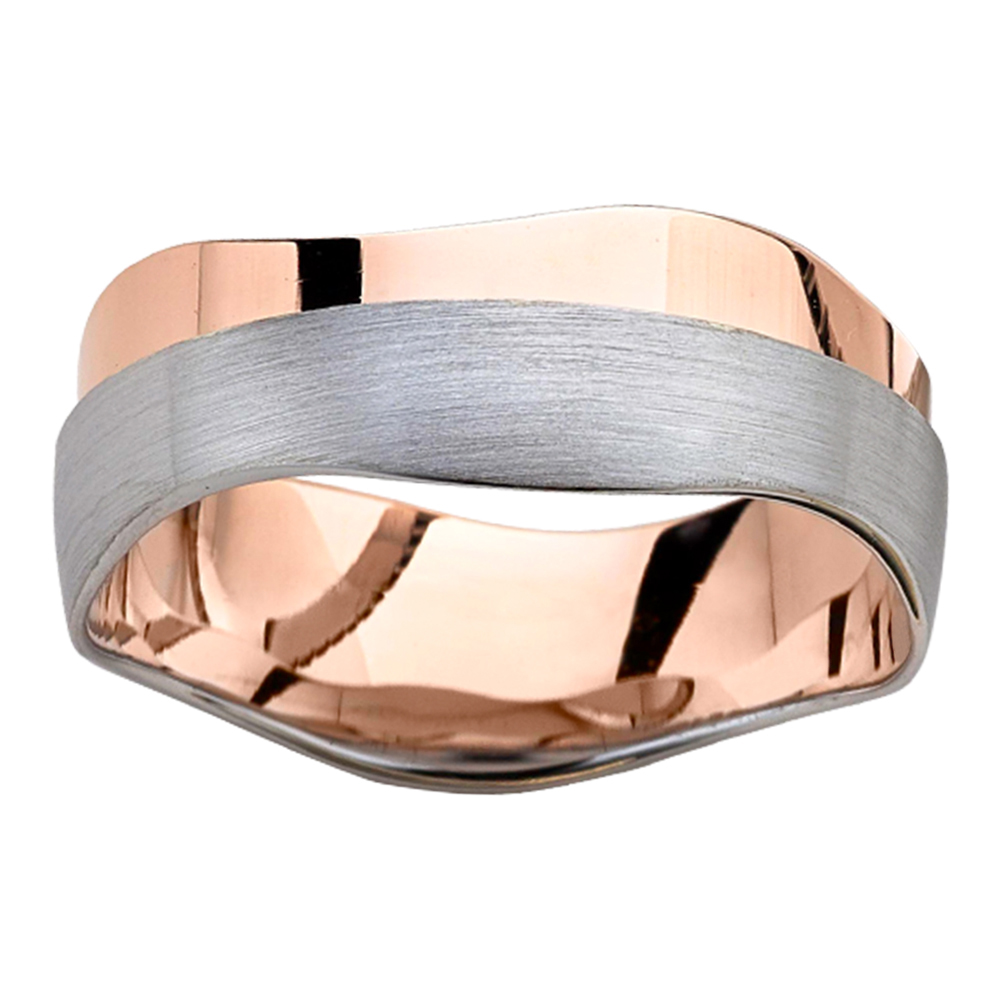 Waved Silhouette Rose White Gold Mens Ring