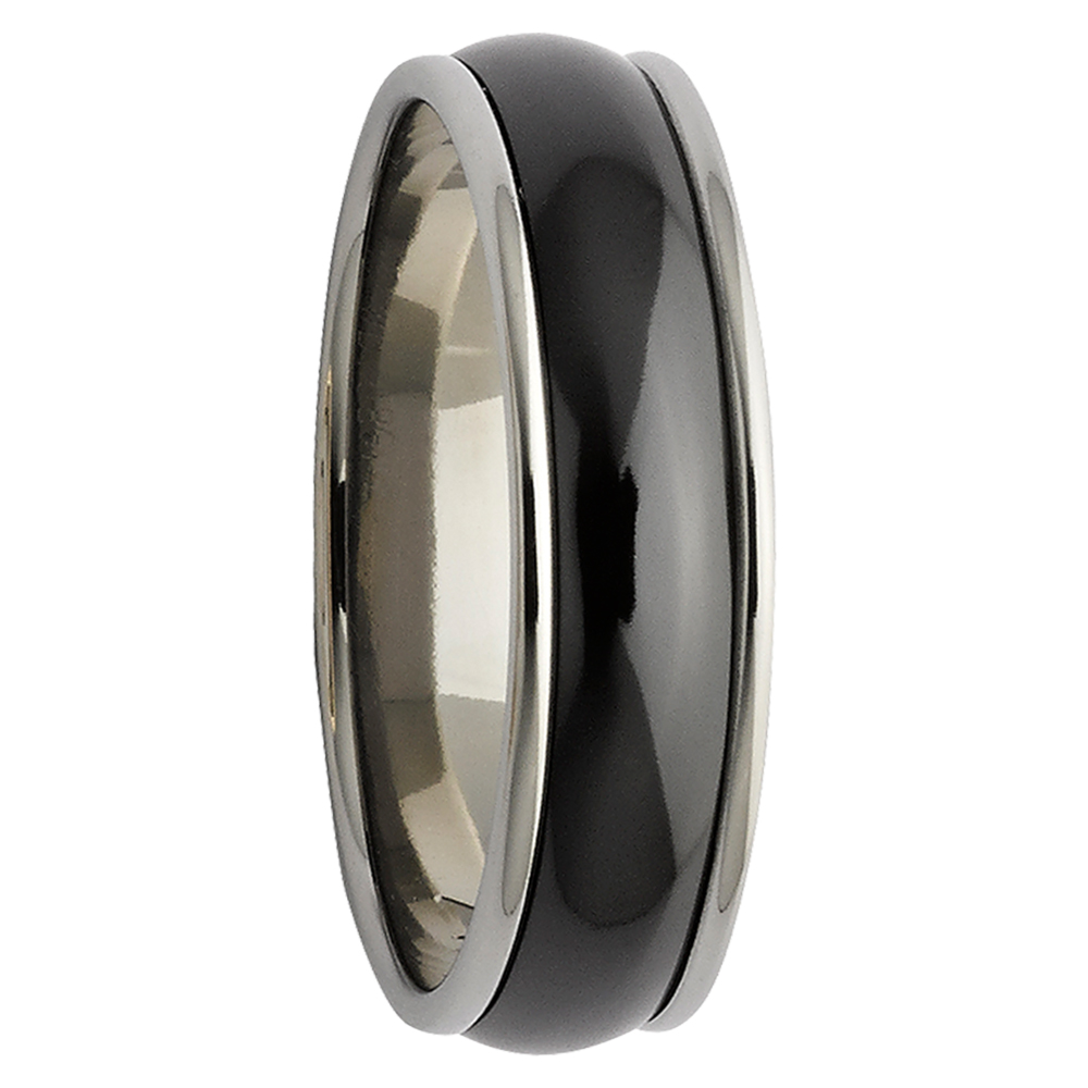 Rounded Step Edge Black & White Zirconium Mens Ring