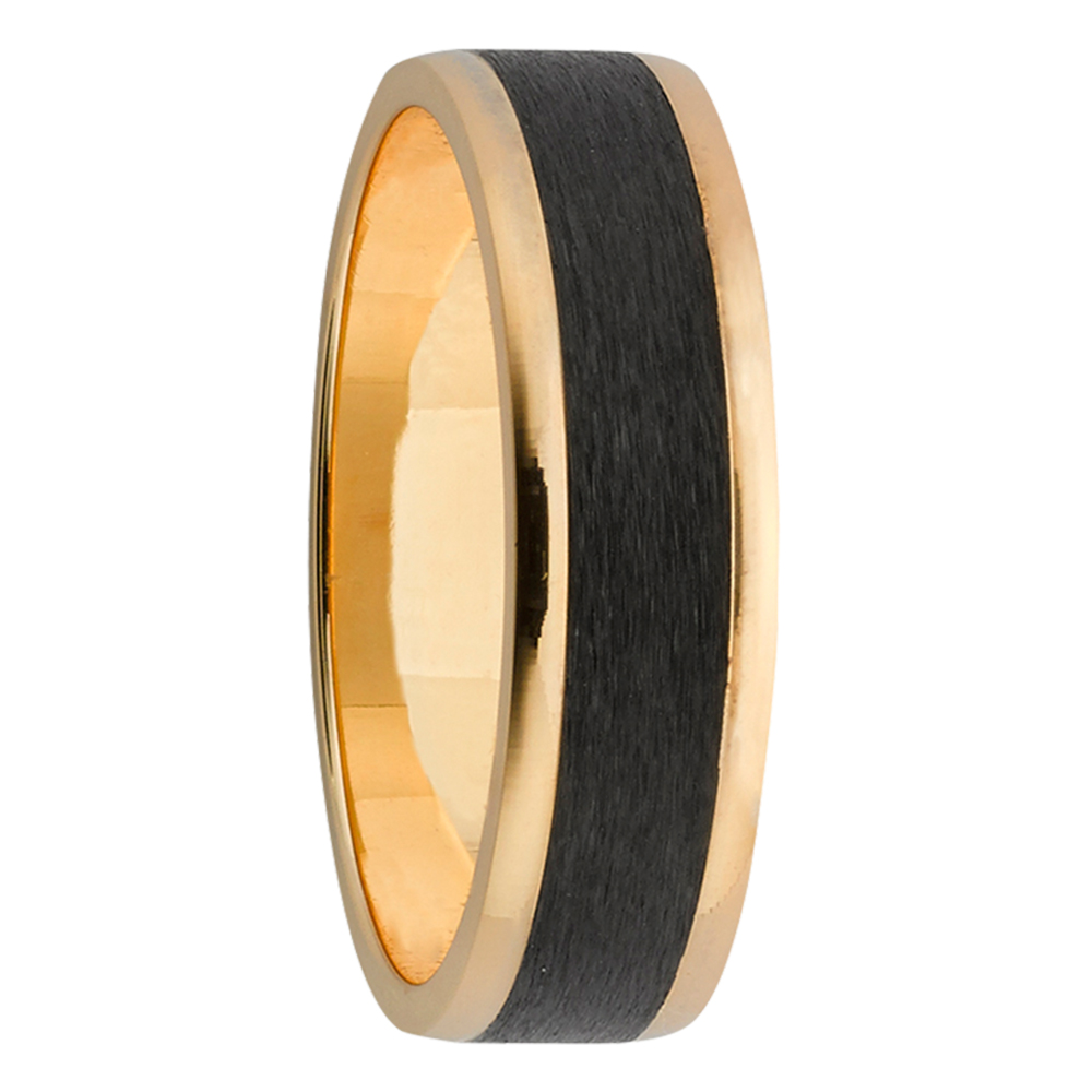 Glossy Edge Zirconium & Yellow Gold Mens Ring