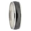 Polished White Gold & Black Zirconium Mens Ring