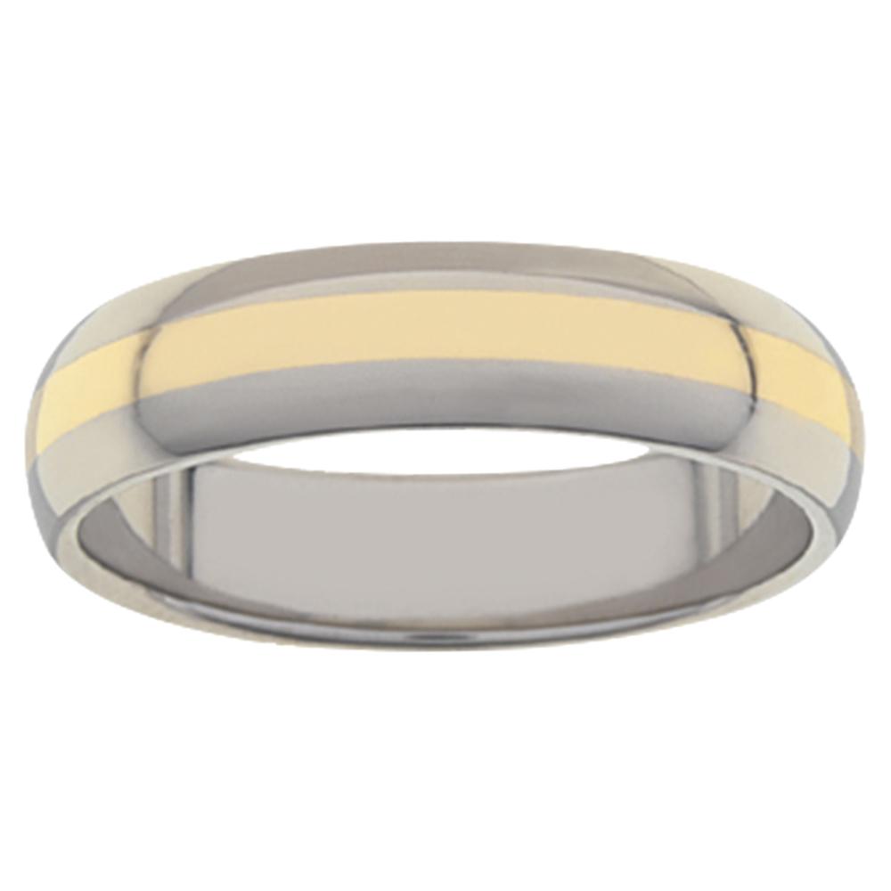 Lustre Plus Titanium Yellow Gold Mens Ring