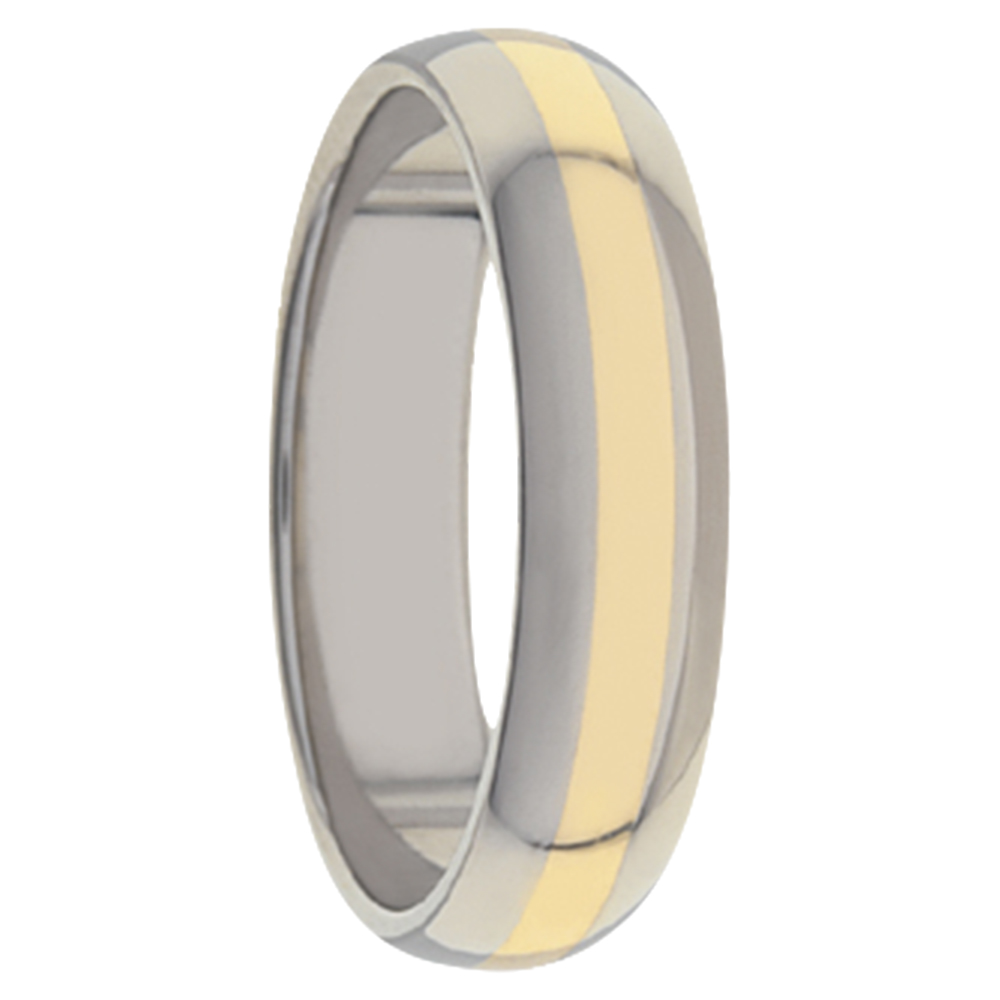 Lustre Plus Titanium Yellow Gold Mens Ring