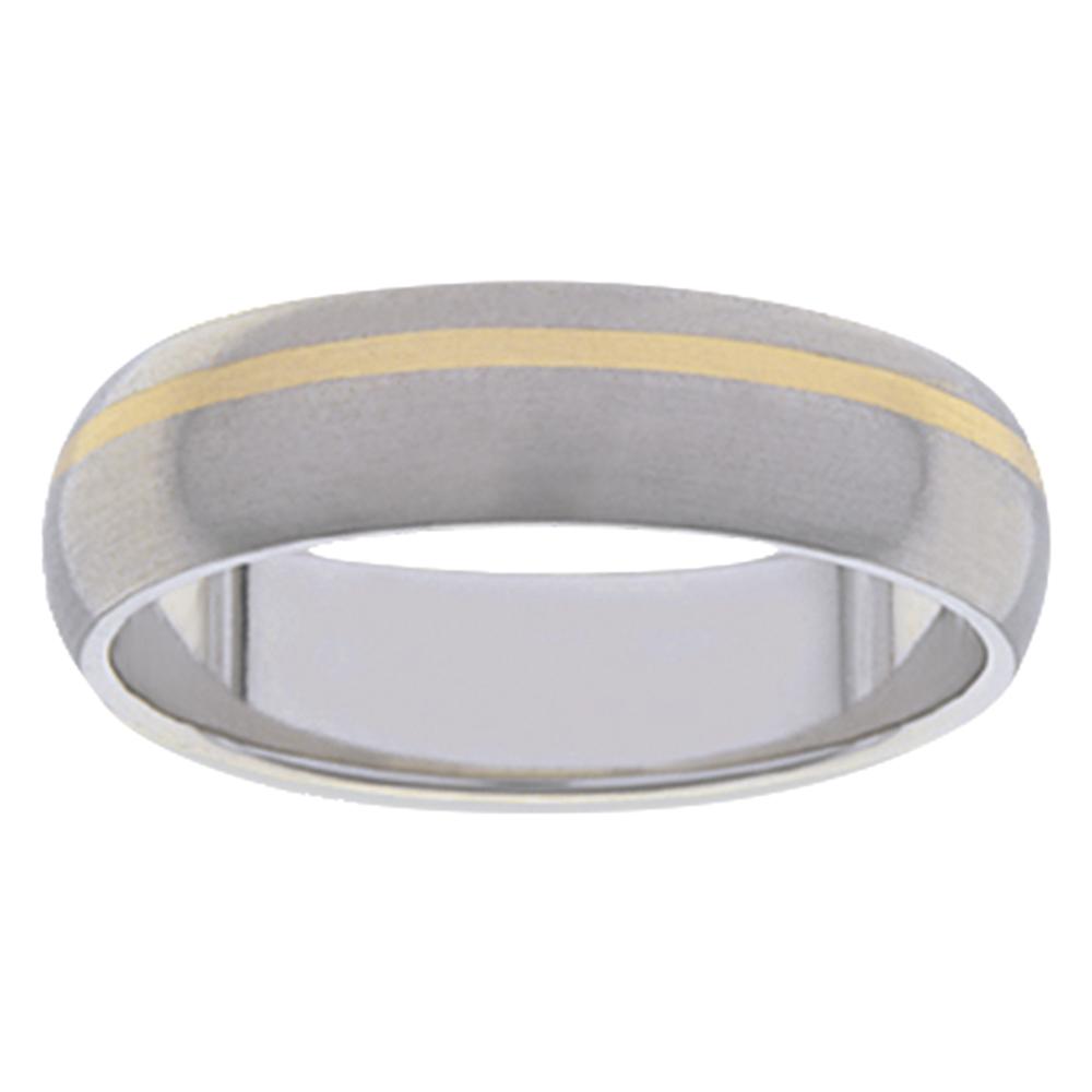 Slim Titanium Yellow Gold Stripe Mens Ring