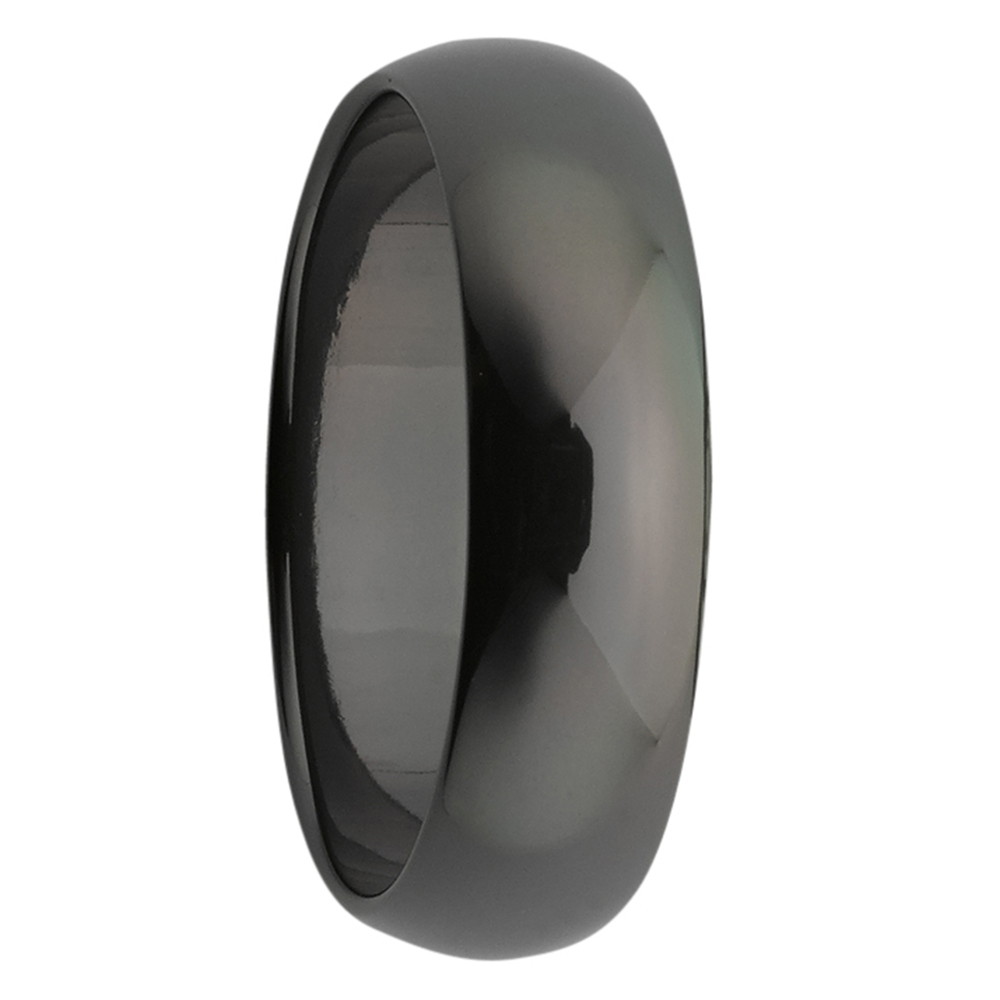 Polished Dome Black Zirconium Mens Ring