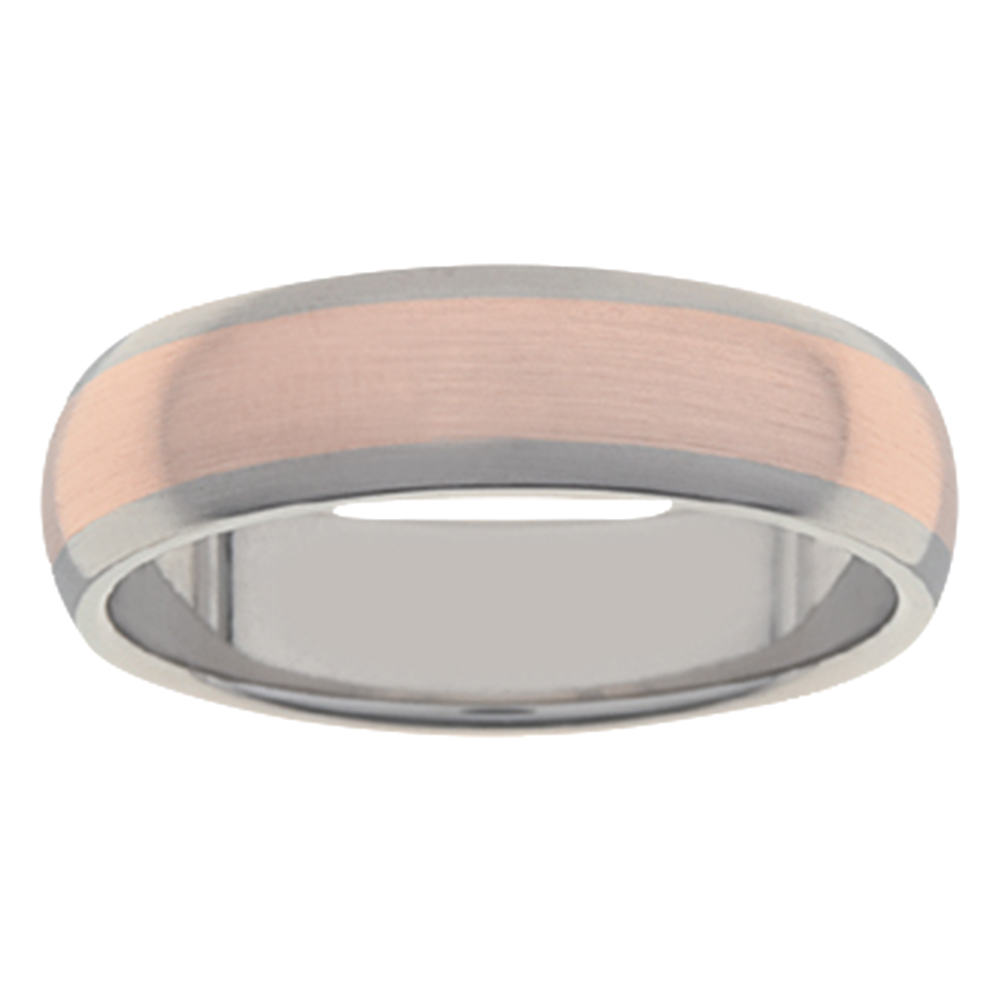 Slim Brushed Rose Gold Titanium Mens Ring
