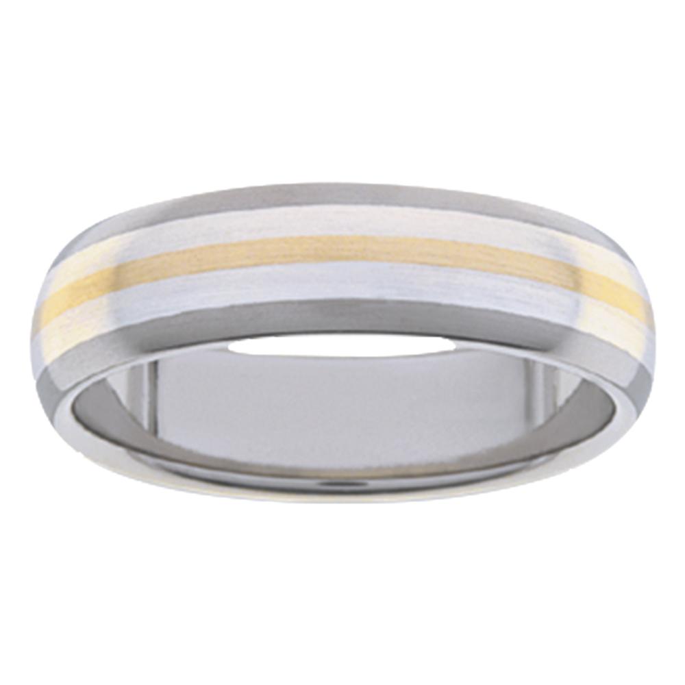 Titanium White Yellow Gold Warm Stripe Mens Ring