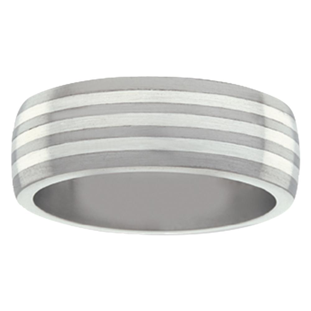 Striped Titanium White Gold Mens Ring
