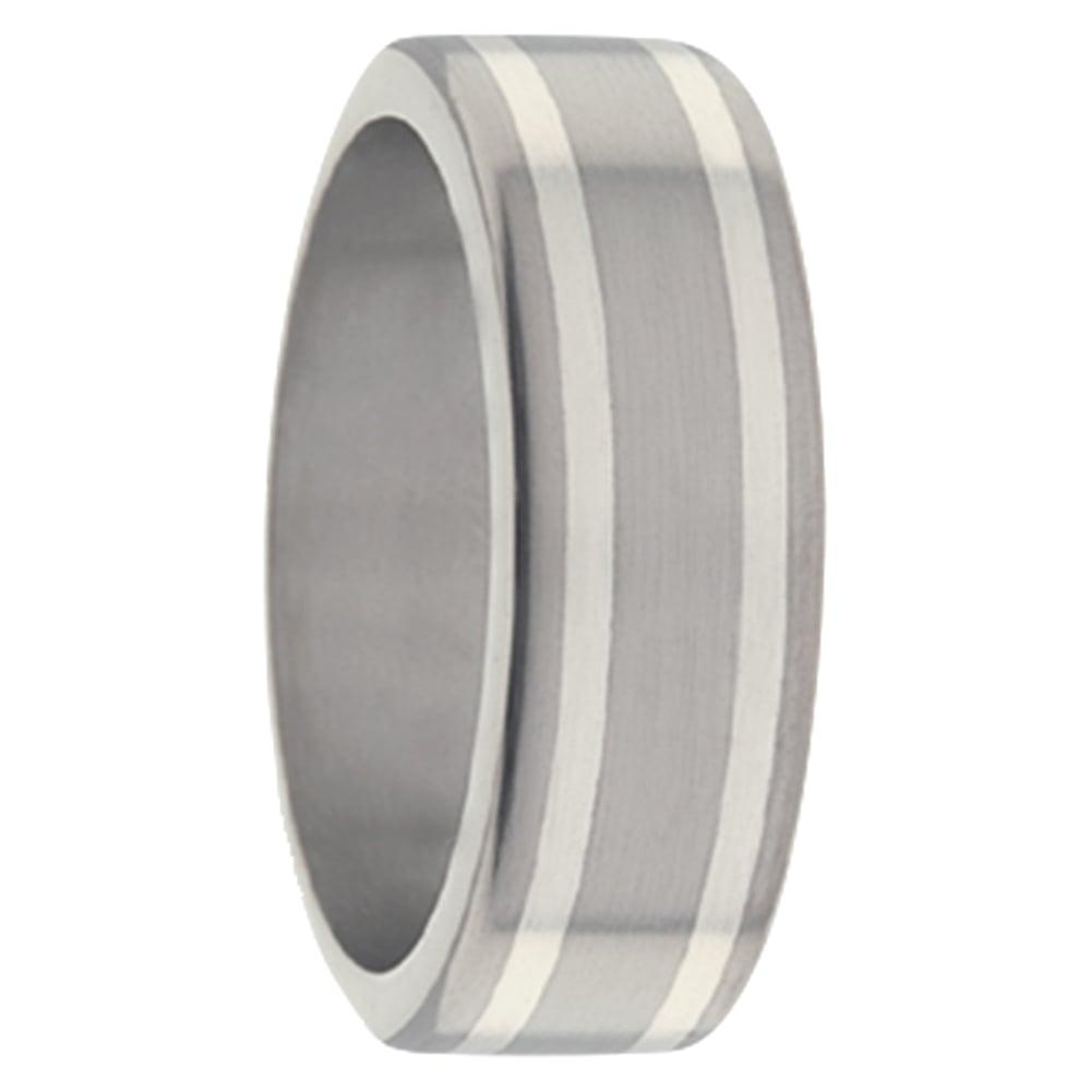 Brushed Titanium White Gold Stripe Mens Ring