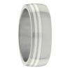 Titanium Two Stripe White Gold Mens Ring