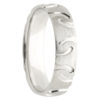 Irregular Grooves White Gold Mens Ring